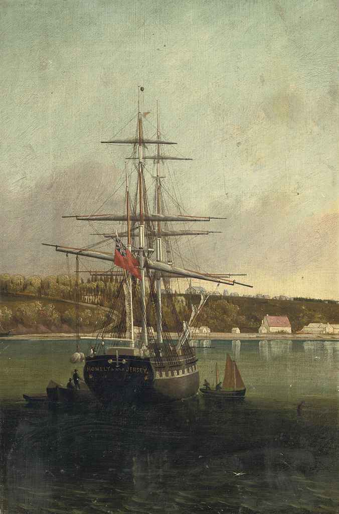 The brig Homely of Jersey unloading off Le Banc de Paspebiac, Quebec, Le Bouthillier shed on the wharf and the Catholic Church on the hill beyond, Canada