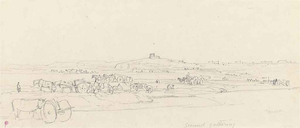 Sketches in Jersey and Guernsey, including: Seaweed gathering; Rozel Bay; Elizabeth Castle; and Moorings