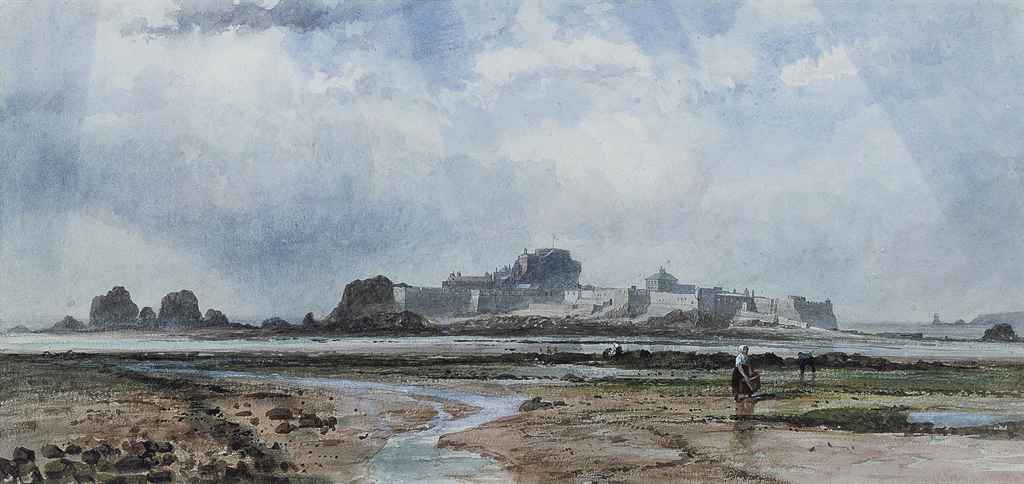 Elizabeth Castle from the left of the causeway, Jersey