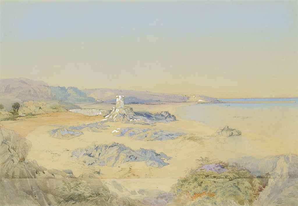 Archirondel Bay; and Elizabeth Castle at low tide, Jersey