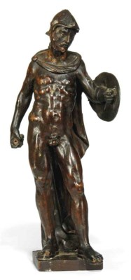 A GERMAN CARVED WOOD FIGURE OF