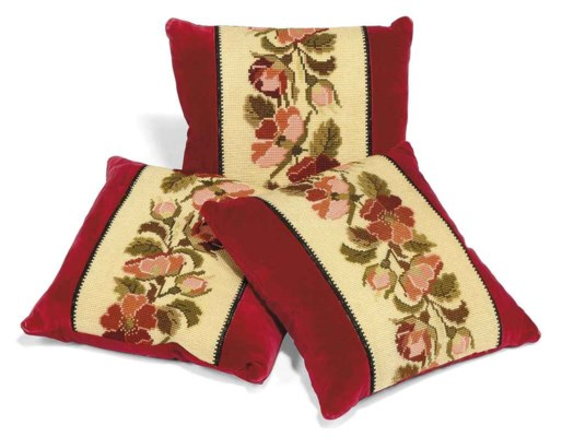 A GROUP OF NEEDLEWORK CUSHIONS
