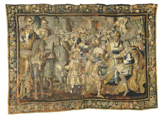 A LARGE AUBUSSON TAPESTRY