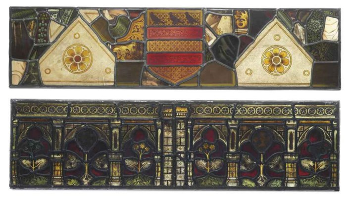 FIVE STAINED AND LEADED GLASS