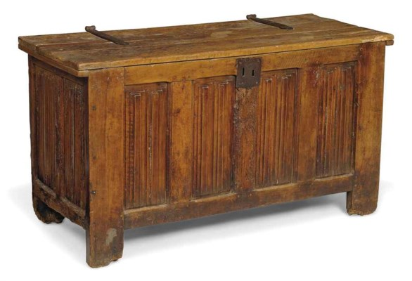 A FRENCH WALNUT LINENFOLD CHES