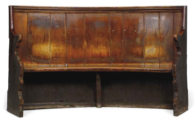 A GEORGE III PAINTED ELM LOW-B
