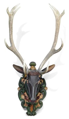 A GERMAN PAINTED WOOD STAG'S H