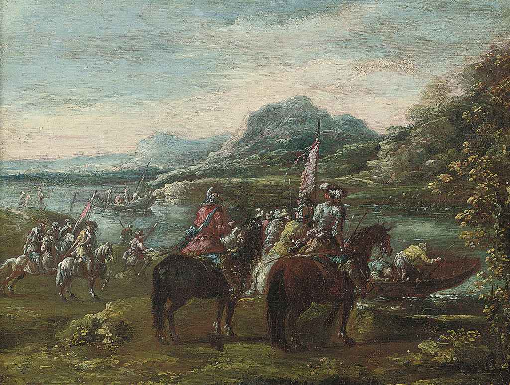 A river landscape with cavalry officers on a bank