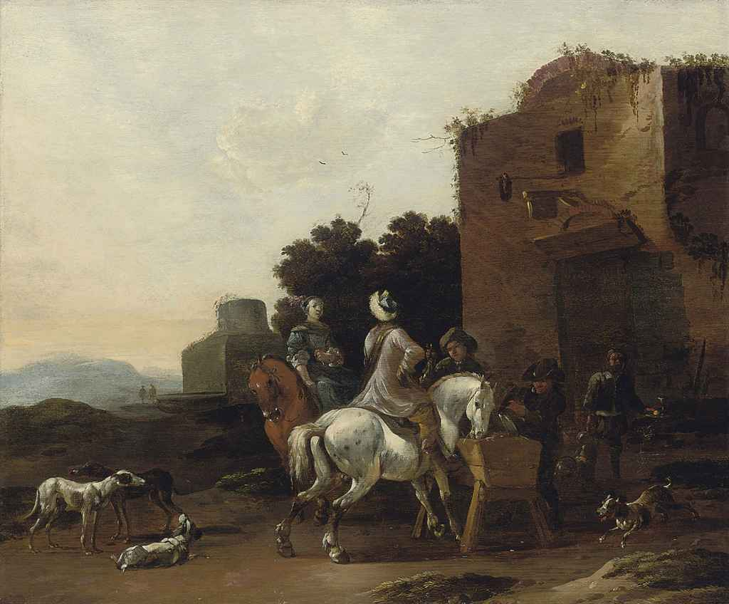 A classical landscape with a hunting party at rest