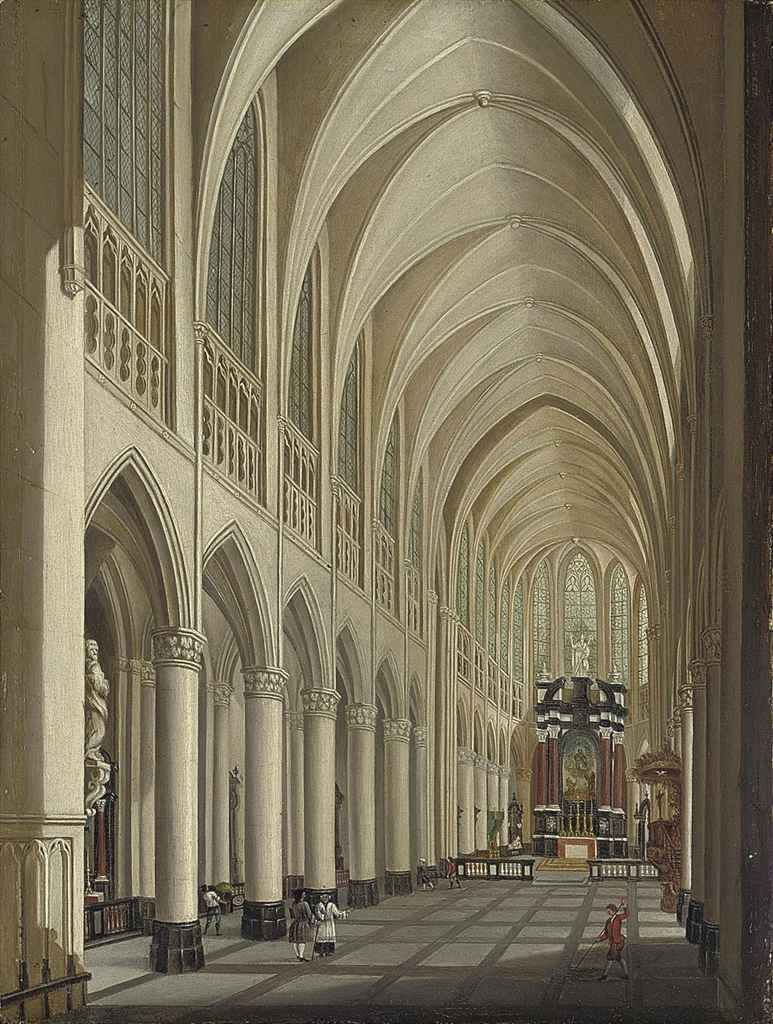 The interior of a Gothic cathedral