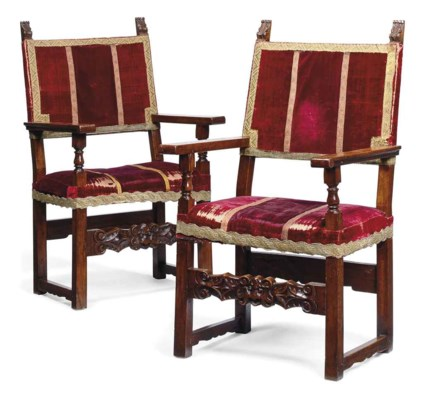 A PAIR OF SPANISH WALNUT HIGH-