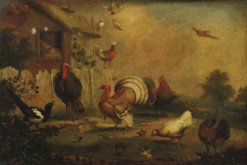 Turkeys, a cockerel, hens and other fowl and birds by a hen-house