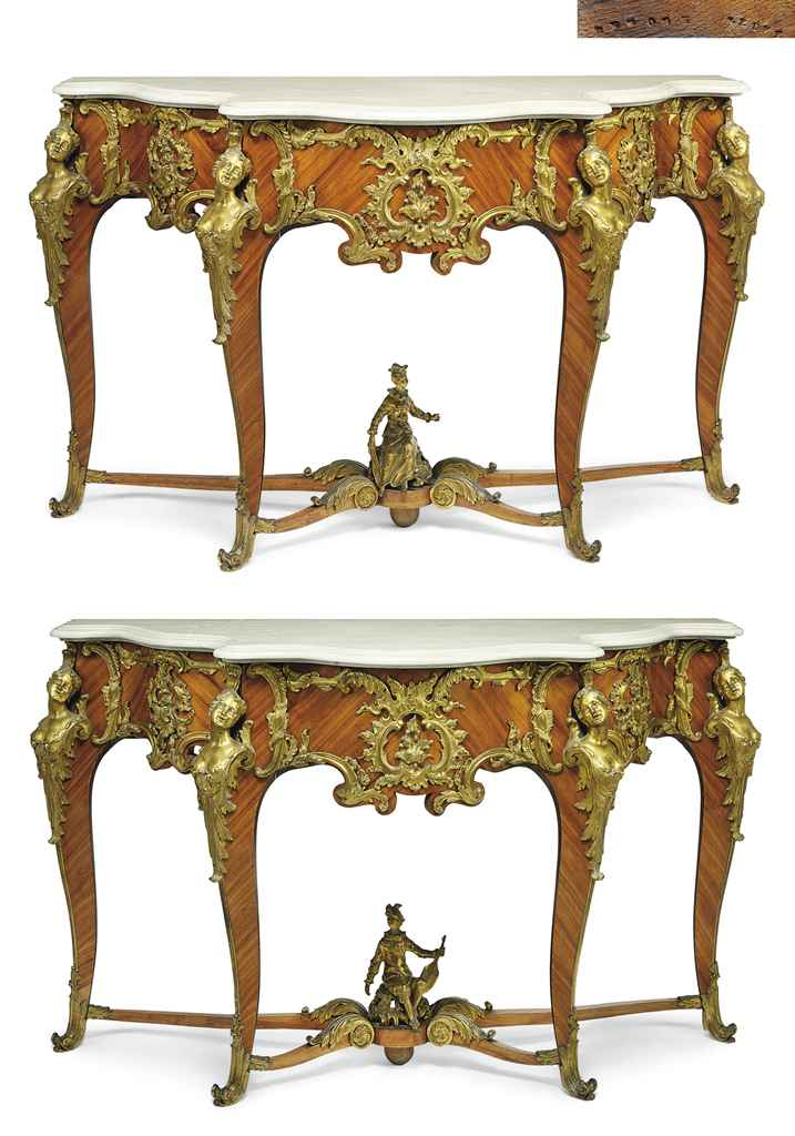 A PAIR OF FRENCH ORMOLU-MOUNTED TULIPWOOD CONSOLE TABLES