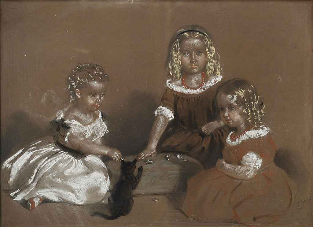 Portrait of James, Lucy and May Montgomery playing with a kitten