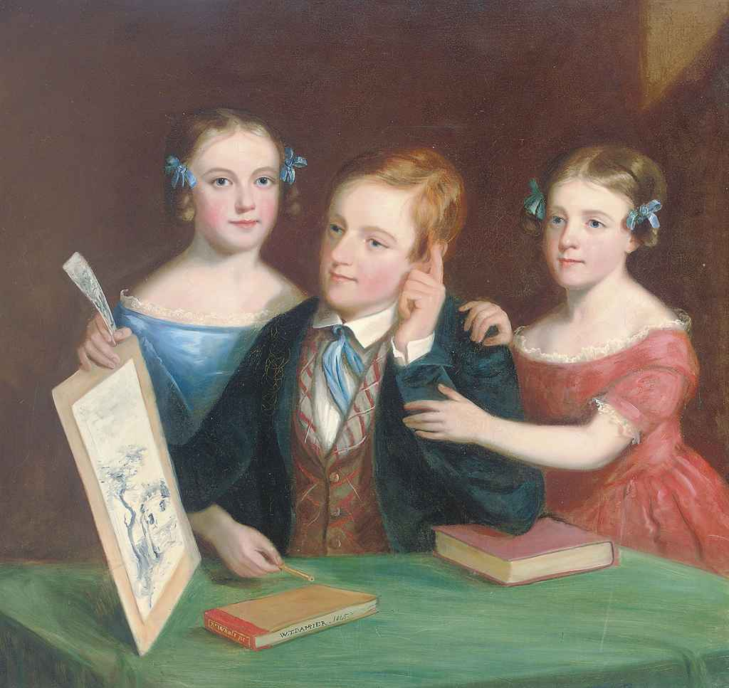 Portrait of a brother and two sisters admiring a waterolour