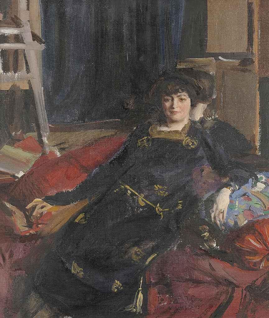 Portrait of Mme du Cros, in a black dress