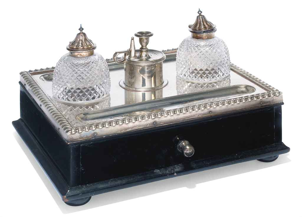 A VICTORIAN SILVER-MOUNTED INKSTAND