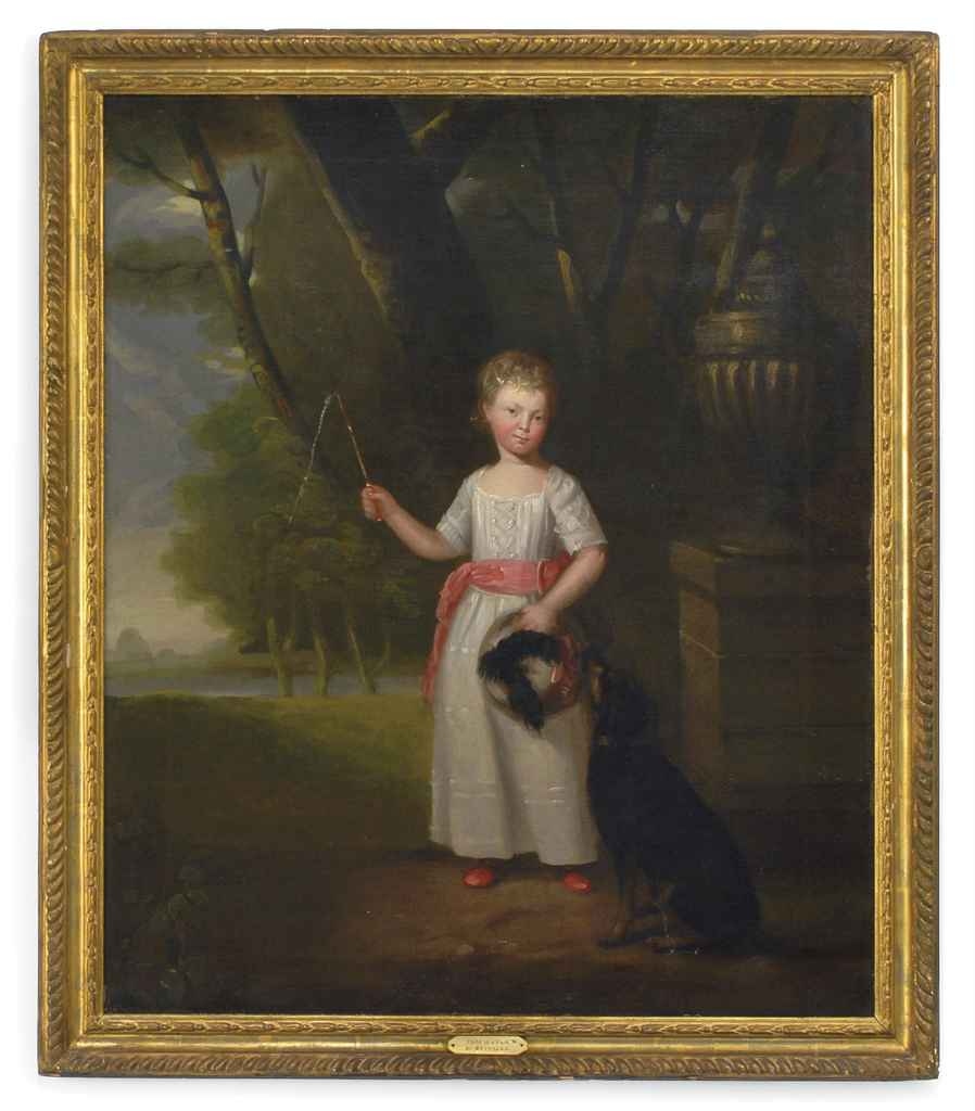 Portrait of a young girl, standing full-length, in a white dress with a pink sash and shoes, a dog by her side in a landscape