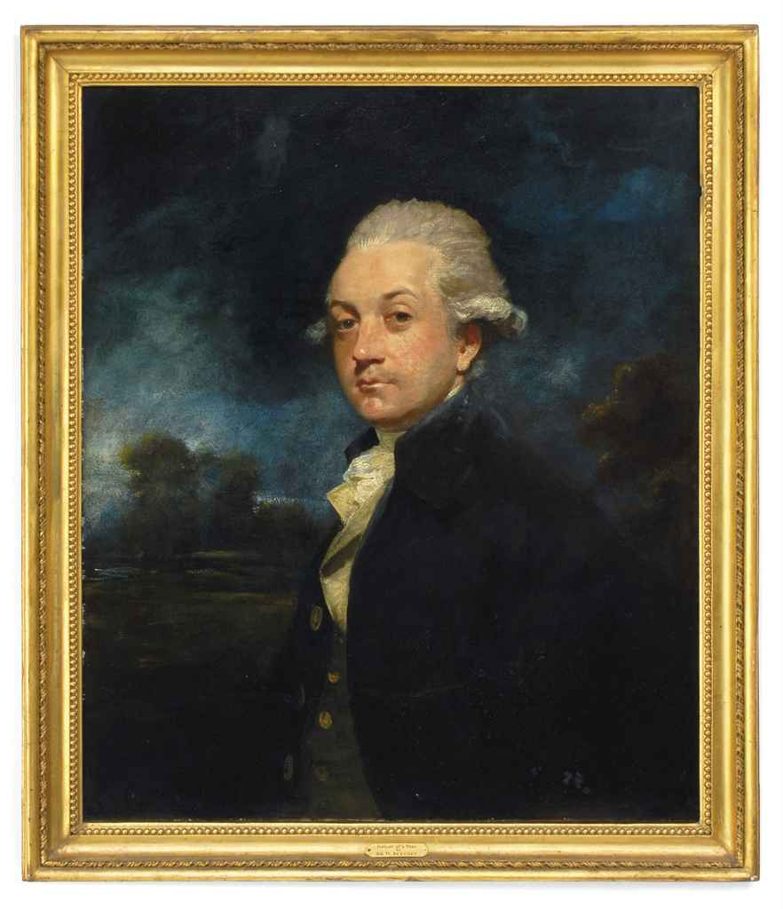 Portrait of a Gentleman, half-length, in a blue coat and white cravat a landscape beyond