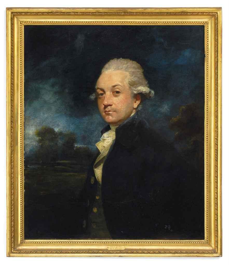 Portrait of a Gentleman, half-length, in a blue coat and white cravat a landscape beyond