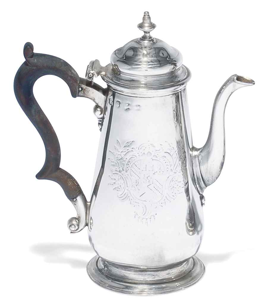 A SMALL GEORGE II SILVER COFFEE POT