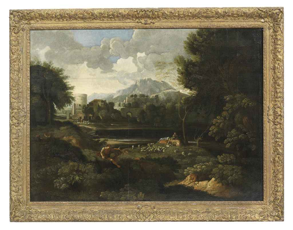 Landscape with travellers before a lake