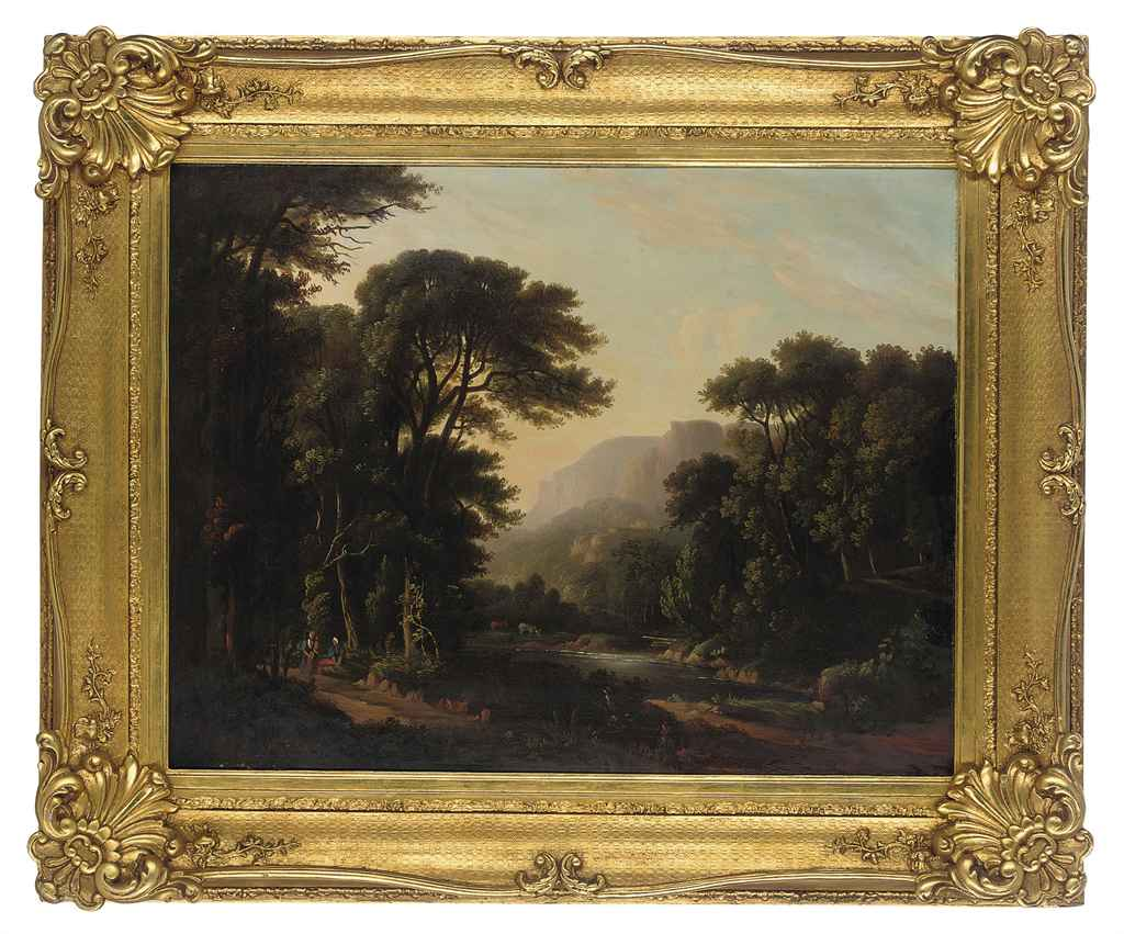 A mountainous wooded river landscape, with figures resting on a path