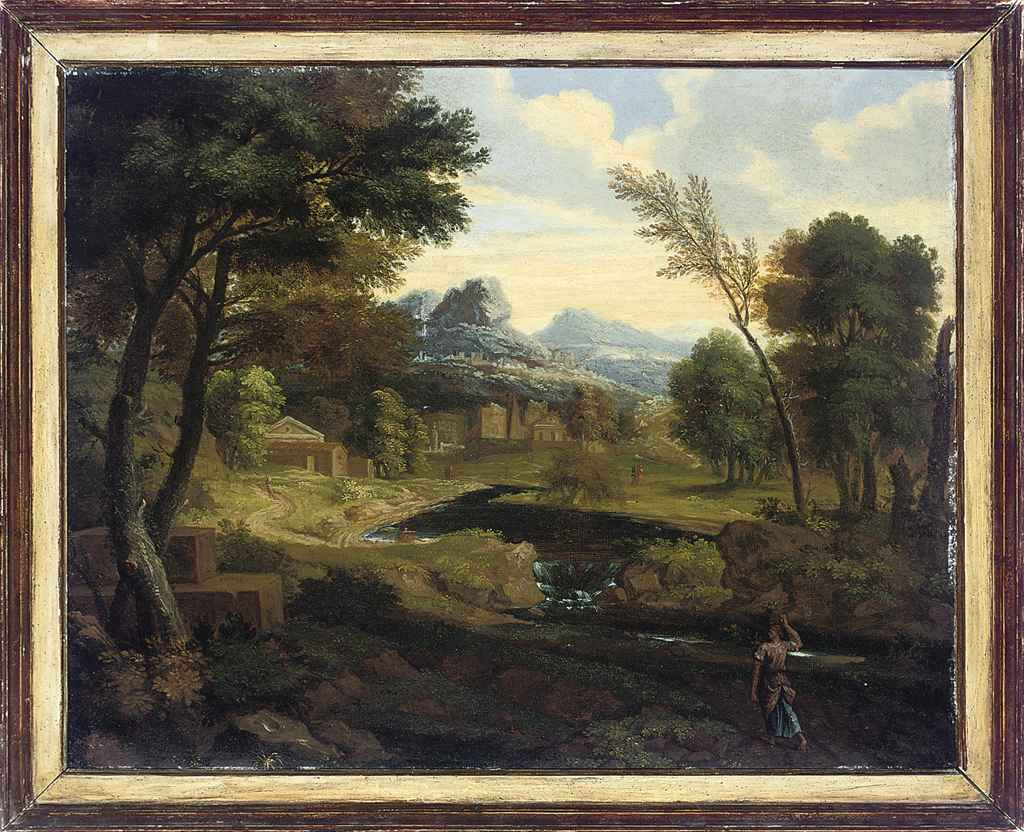 An Italianate river landscape with a figure on a track