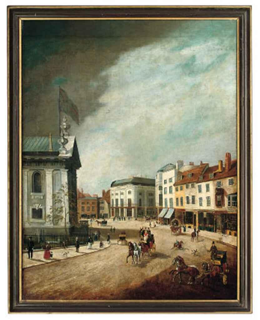 A bustling street before St. Alfege's Church, Greenwich