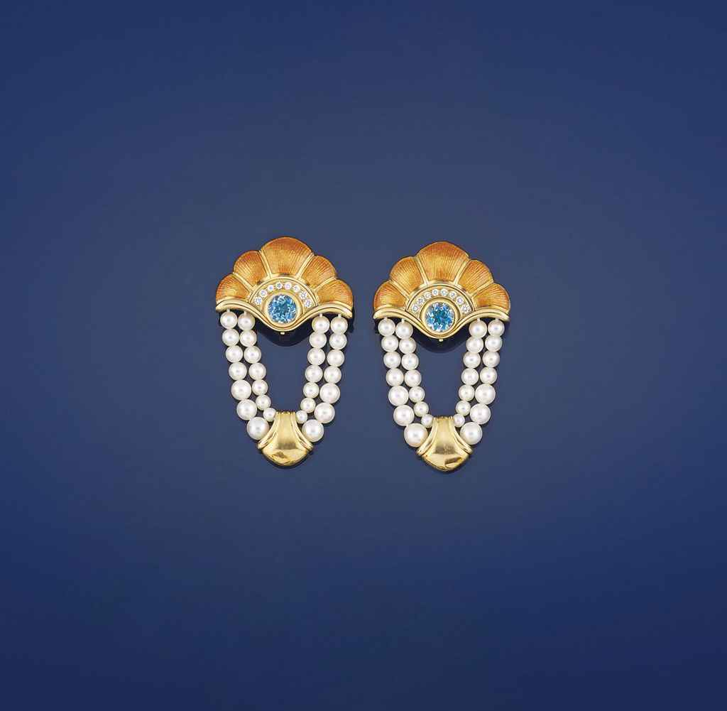 A pair of 18ct. gold, aquamarine, diamond, enamel and cultured pearl earrings, by de Vroomen