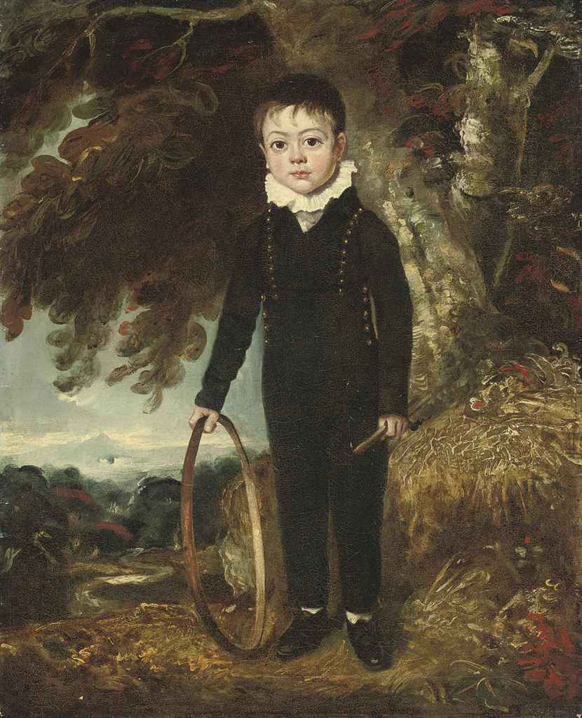 Portrait of a boy, full-length, in a blue coat and trousers, a hoop in his right hand, standing in a landscape