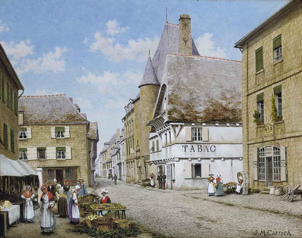 The market place, Pontivy, Brittany; and The London Apprentice at Isleworth