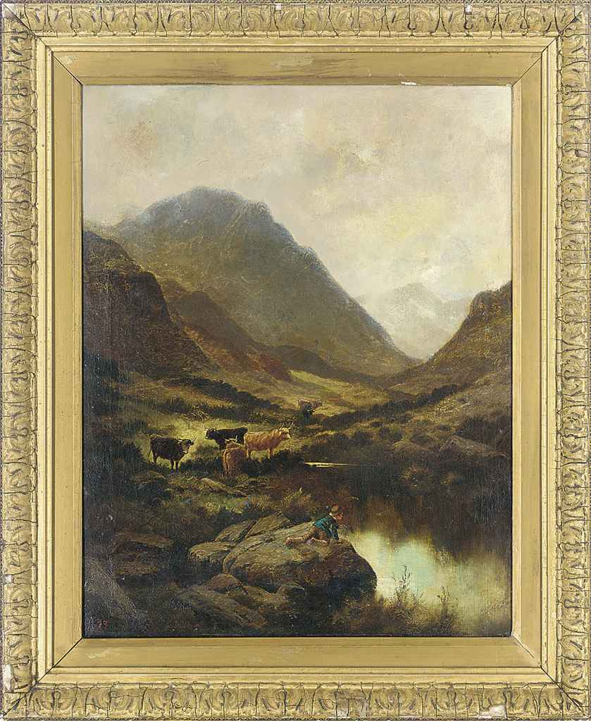 A boy by a pool in a mountainous landscape, with cattle