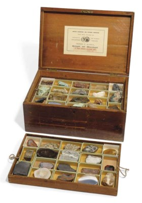 A cabinet of minerals, rocks a