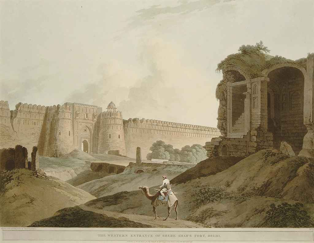 The Mausoleum of Mucdoom Shah Dowlut, at Moneah, on the River Soane; and The Western Entrance of Shere Shah's Fort, Delhi (Abbey Travel 420, nos. 13,14)