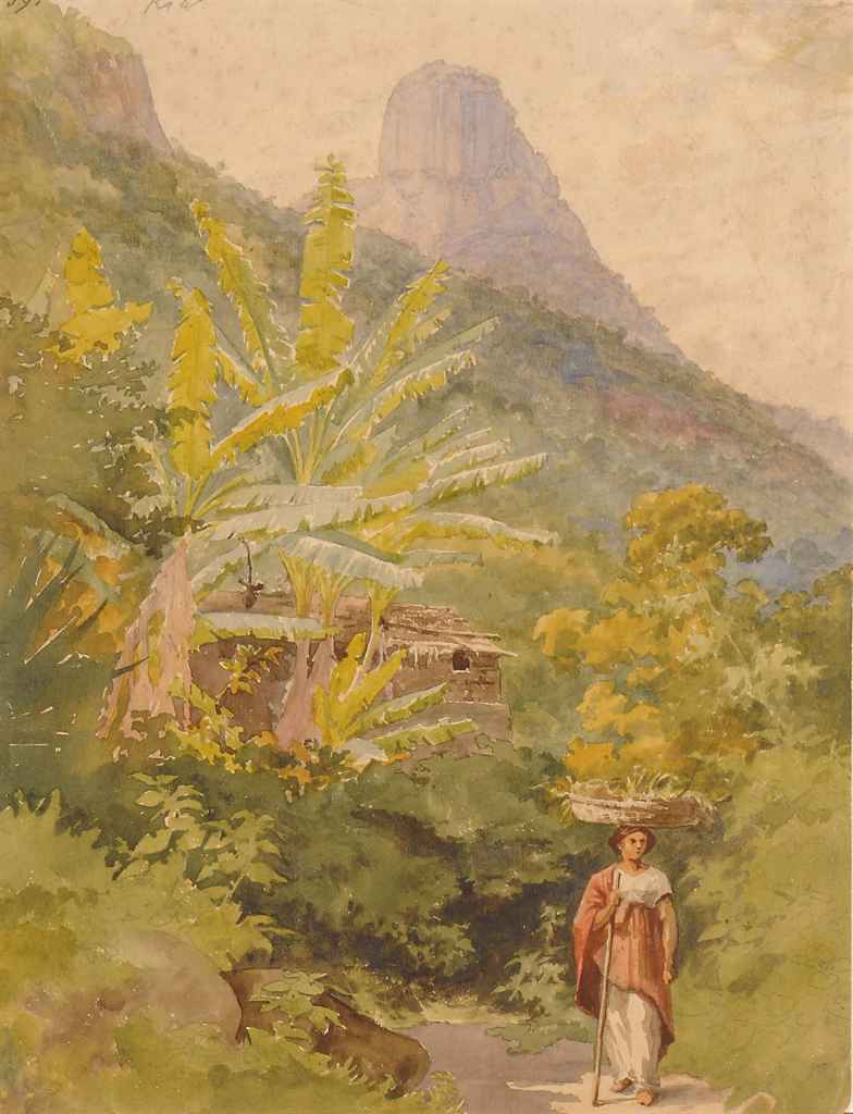 A Brazilian woman carrying a basket of fruit on her head, with Sugar Loaf beyond