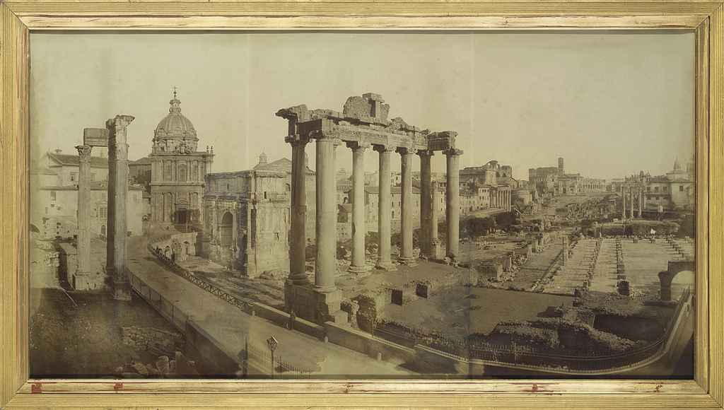 A large photographic view of The Forum, Rome