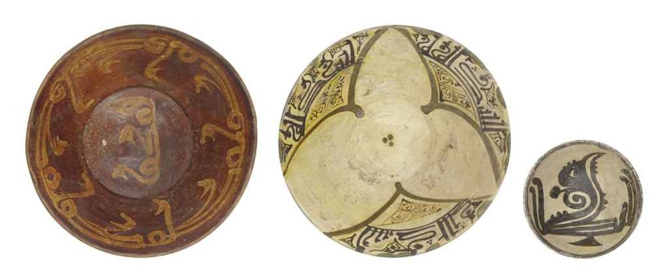 THREE NISHAPUR POTTERY BOWLS