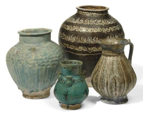 FOUR PERSIAN POTTERY VASES