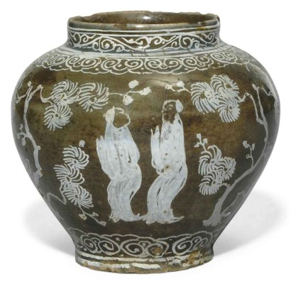 AN UNUSUAL SAFAVID POTTERY VAS