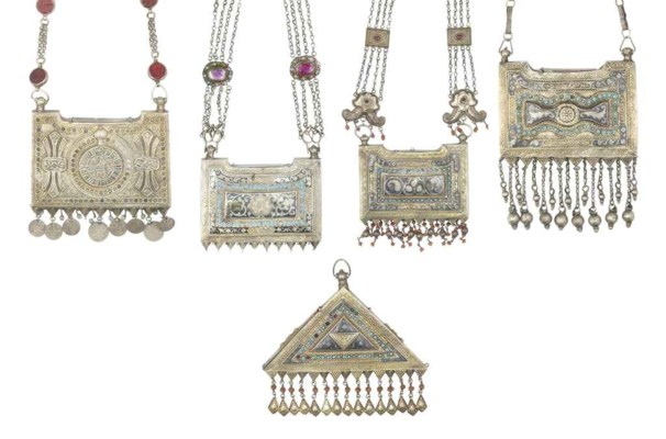 A GROUP OF FIVE SILVER-GILT AN