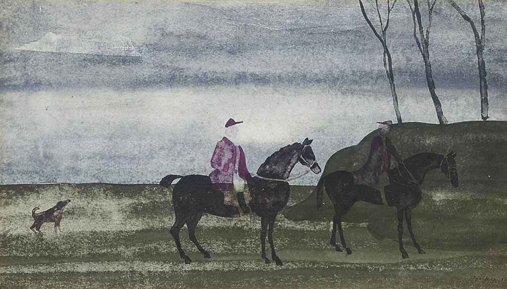 Two men out hunting (illustrated); and A carriage being drawn by four horses