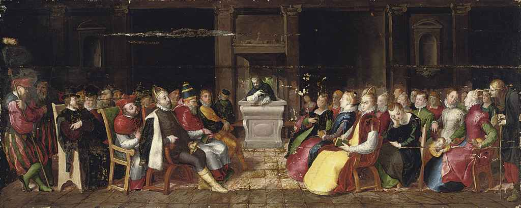 A Vanitas: A Capriccio of a Dominican preaching to the Emperor Charles V, King Philip II of Spain, a Pope and their brilliantly attired entourages