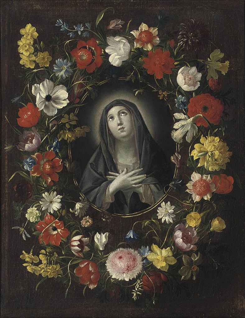 The Madonna in a floral cartouche