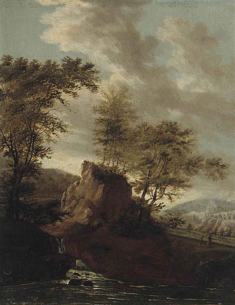 A rocky river landscape with travellers on a track
