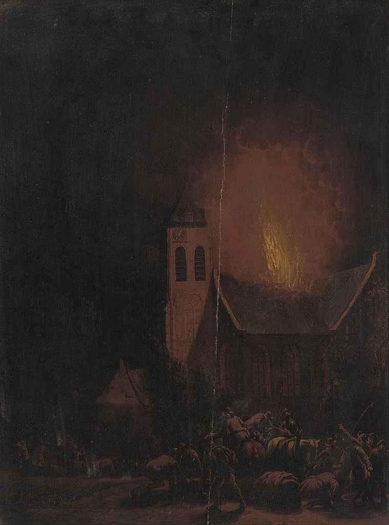 Villagers fleeing a fire