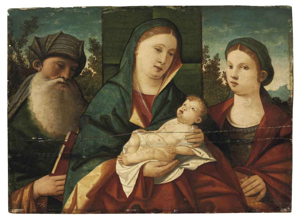 The Madonna and Child with Saint Anthony Abbot and Saint Catherine, in a landscape