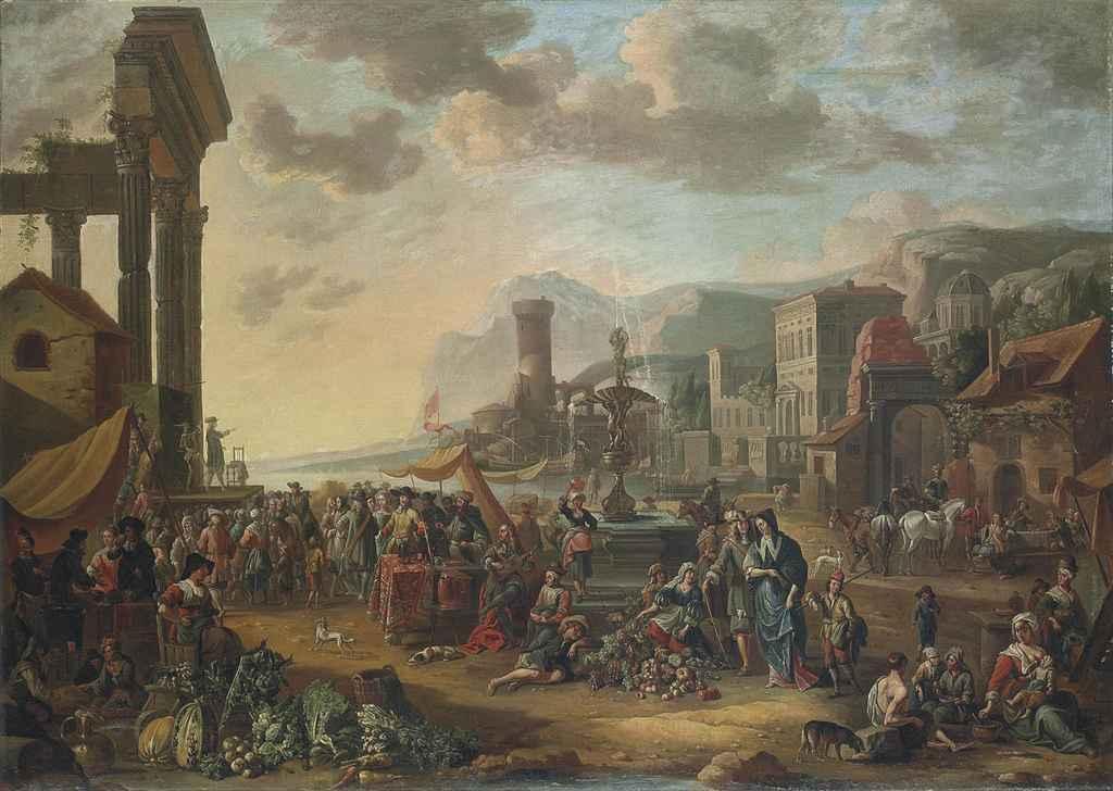 A capriccio of a Mediterranean port city with a market, a commedia dell'arte performing