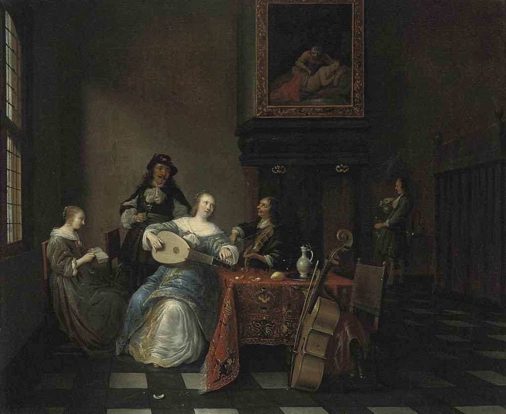 Elegant company making music in an interior