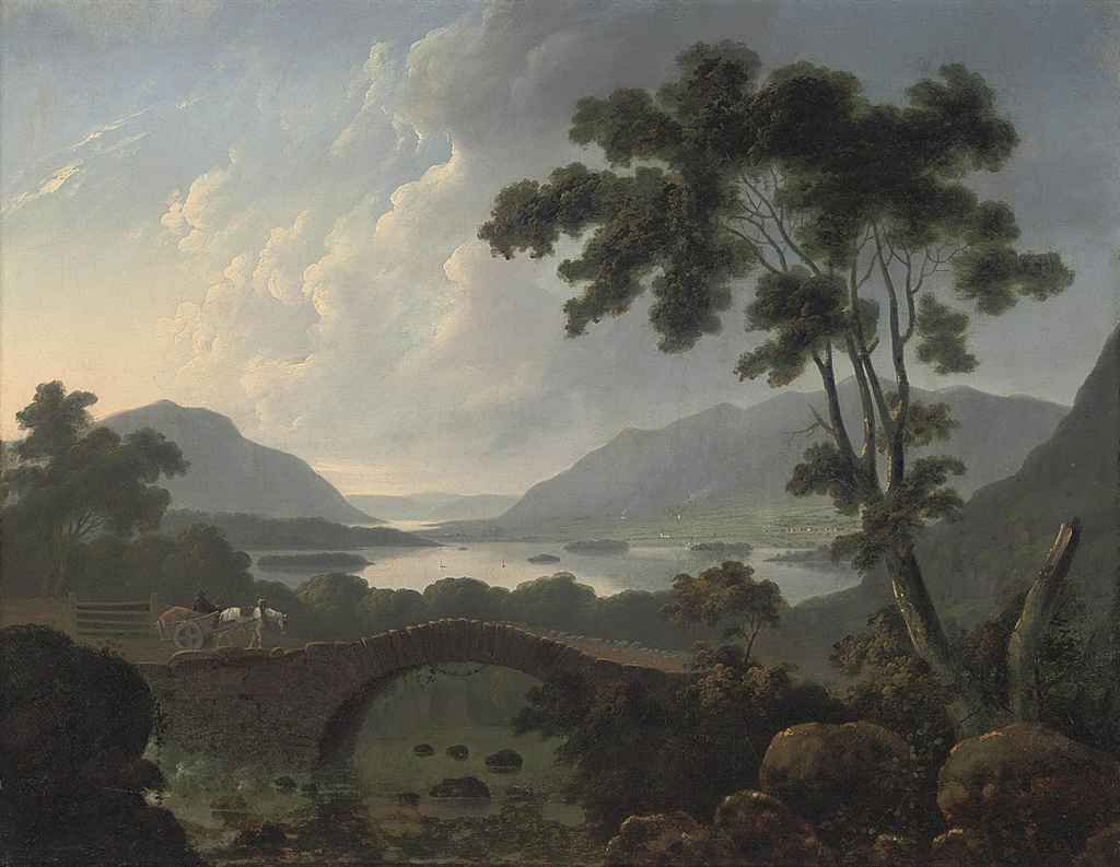 An extensive landscape in the Lake District with a horse-drawn cart crossing a bridge